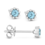 0.34ct Round Cut Blue Topaz & Diamond Pave Baby Stud Earrings in 14k White Gold