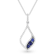 0.34ct Round Cut Sapphire & Diamond Pave Pendant & Chain Necklace in 14k White & Black Gold