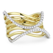 0.35ct Round Cut Diamond Pave Right-Hand Multi-Swirl Wrap Ring in 14k Yellow & White Gold