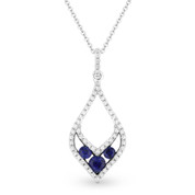 0.35ct Round Cut Sapphire-Trio & Diamond Pave Pendant & Chain Necklace in 14k White & Black Gold