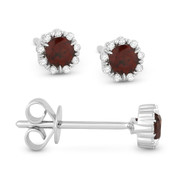 0.36ct Round Cut Garnet & Diamond Pave Baby Stud Earrings in 14k White Gold