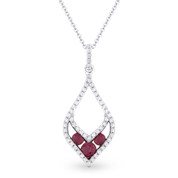 0.36ct Round Cut Ruby-Trio & Diamond Pave Pendant & Chain Necklace in 14k White & Black Gold