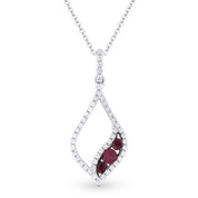 0.36ct Round Cut Ruby & Diamond Pave Pendant & Chain Necklace in 14k White & Black Gold