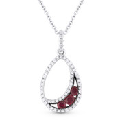0.36ct Round Cut Ruby & Diamond Pave Tear-Drop Pendant & Chain Necklace in 14k White & Black Gold