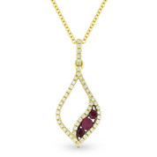 0.36ct Round Cut Ruby & Diamond Pave Pendant & Chain Necklace in 14k Yellow & Black Gold