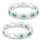 0.37ct Round Cut Emerald & Diamond Pave Evil Eye Charm Ring in 18k White Gold