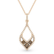 0.39ct Brown Diamond Trio & White Diamond Pave Pendant & Chain Necklace in 14k Rose & Black Gold