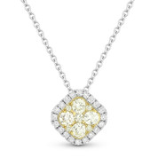 0.40ct Yellow & White Diamond Cluster & Pave Halo Pendant & Chain Necklace in 14k White & Yellow Gold