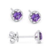 0.41ct Round Brilliant Cut Amethyst & Diamond 3-Prong 5.5mm Halo Stud Earrings in 14k White Gold