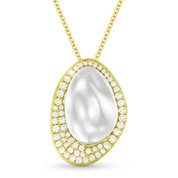 0.41ct Diamond & Hammered Centerpiece Statement Pendant & Chain Necklace in 14k Yellow & White Gold
