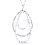0.42ct Diamond Pave & Plain Tear-Drop Stack Statement Pendant & Chain Necklace in 14k White Gold