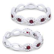 0.42ct Round Cut Ruby & Diamond Pave Evil Eye Charm Ring in 18k White Gold