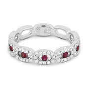 0.42ct Round Cut Ruby & Diamond Pave Right-Hand Band in 14k White Gold