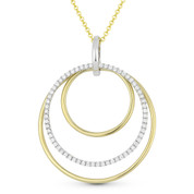 0.43ct Diamond Pave Eternity & Plain Circle Statement Pendant & Chain Necklace in 14k Yellow & White Gold