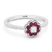 0.46ct Ruby Cluster & Diamond Pave Right-Hand Flower Ring in 18k White Gold
