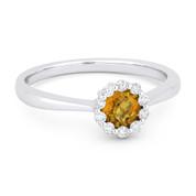 0.47ct Round Brilliant Cut Citrine & Diamond Halo Promise Ring in 14k White Gold
