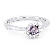 0.47ct Round Brilliant Cut Pink Amethyst & Diamond Halo Promise Ring in 14k White Gold
