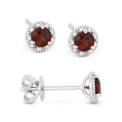 0.50ct Round Brilliant Cut Garnet & Diamond 3-Prong 5.5mm Halo Stud Earrings in 14k White Gold