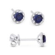 0.51ct Round Brilliant Cut Lab-Created Sapphire & Diamond 3-Prong 5.5mm Halo Stud Earrings in 14k White Gold