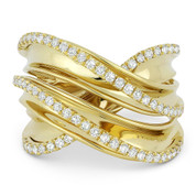 0.52ct Round Cut Diamond Right-Hand Overlap Wrap Fashion Ring in 14k Yellow Gold