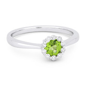 0.52ct Round Brilliant Cut Peridot & Diamond Halo Promise Ring in 14k White Gold