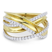 0.53ct Round Cut Diamond Right-Hand Overlap Loop Fashion Ring in 14k Yellow & White Gold