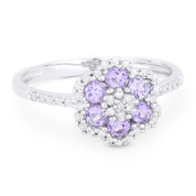 0.53ct Round Cut Amethyst & Diamond Pave Right-Hand Flower Ring in 14k White Gold