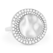 0.53ct Round Cut Diamond Pave Right-Hand Statement Ring in 14k White Gold