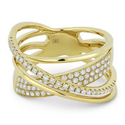 0.53ct Round Cut Diamond Pave Overlap Loop Right-Hand Statement Ring in 14k Yellow Gold
