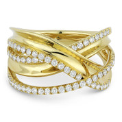 0.53ct Round Cut Diamond Right-Hand Overlap Loop Fashion Ring in 14k Yellow Gold