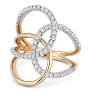 0.54ct Round Cut Diamond Pave Triple-Loop Overlap Right-Hand Statement Ring in 14k Rose & White Gold