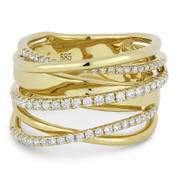 0.54ct Round Cut Diamond Pave Overlap Loop Right-Hand Statement Ring in 14k Yellow Gold