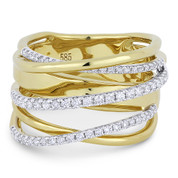 0.54ct Round Cut Diamond Pave Overlap Loop Right-Hand Statement Ring in 14k Yellow & White Gold