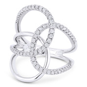 0.54ct Round Cut Diamond Pave Triple-Loop Overlap Right-Hand Statement Ring in 14k White Gold