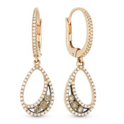 0.55ct Round Cut Brown & White Diamond Pave Dangling Earrings in 14k Rose & Black Gold