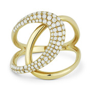 0.55ct Round Cut Diamond Pave Overlap Loop Right-Hand Statement Ring in 14k Yellow Gold