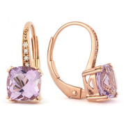 1.93ct Cushion Cut Pink Amethyst & Round Cut Diamond Leverback Drop Earrings in 14k Rose Gold
