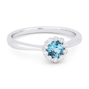 0.56ct Round Brilliant Cut Blue Topaz & Diamond Halo Promise Ring in  14k White Gold