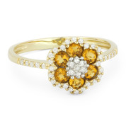 0.56ct Round Cut Citrine & Diamond Pave Right-Hand Flower Ring in 14k Yellow Gold