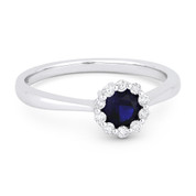 0.56ct Round Brilliant Cut Lab-Created Sapphire & Diamond Halo Promise Ring in 14k White Gold