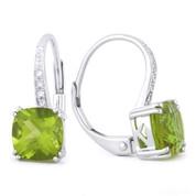 2.09ct Cushion Cut Peridot & Round Cut Diamond Leverback Drop Earrings in 14k White Gold