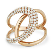 0.57ct Round Cut Diamond Pave Overlap Loop Right-Hand Statement Ring in 14k Rose Gold