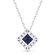 0.58ct Princess Cut Sapphire & Round Diamond Pendant in 18k White Gold w/ 14k Chain Necklace