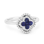 0.58ct Sapphire Cluster & Diamond Double-Halo Right-Hand Flower Ring in 18k White Gold