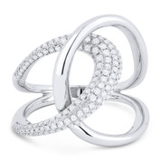 0.61ct Round Cut Diamond Pave Overlap Loop Right-Hand Statement Ring in 14k White Gold