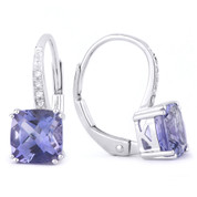 1.66ct Cushion Cut Iolite & Round Cut Diamond Leverback Drop Earrings in 14k White Gold