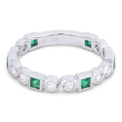 """0.61ct Emerald & Diamond """"S"""" & Square Setting Stackable Band in 18k White Gold"""