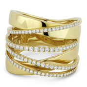0.61ct Round Cut Diamond Pave Overlap Loop Right-Hand Wrap Ring in 14k Yellow Gold
