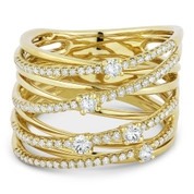 0.63ct Round Cut Diamond Pave Overlap Loop Right-Hand Wrap Ring in 14k Yellow Gold