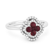 0.65ct Ruby Cluster & Diamond Double-Halo Right-Hand Flower Ring in 18k White Gold